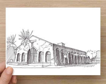 Ink Drawing of the historic Coast Guard Building  in Key West, Florida - Architecture, Sketch, 5x7 Print, Art, Illustration, Pen and Ink