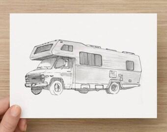 Ink Sketch of RV - Drawing, Art, Recreational Vehicle, Winnebago, Travel, Vintage, Pen and Ink, 5x7, 8x10, Print