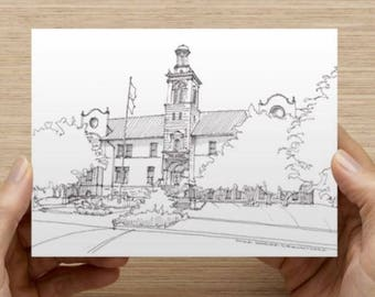 Ink Sketch of the School of Mines in Golden, Colorado - Drawing, Art, Architecture, History, Geology, Pen and Ink, 5x7, 8x10, Print