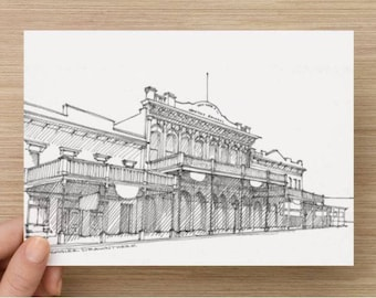 Ink Sketch of Old Sacramento Architecture - California, Drawing, Art, Street, Old West, Pen and Ink, 5x7, 8x10, Print