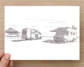 Ink Drawing of Camper Vans Parked at Beach Near Pensacola, Florida - Sketch, Art, Pen and Ink, 5x7, 8x10, Print, Vanlife, Sprinter Van, Camp