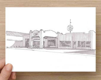 Marfa Public Radio - Vintage Architecture, NPR , West Texas, Ink Drawing, Sketch, Black and White, Art, Pen and Ink, 5x7, 8x10