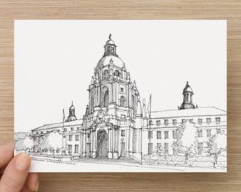 Ink Sketch of Pasadena City Hall Near Los Angeles, California - Drawing, Art, Building, Architecture, Dome, Pen and Ink, 5x7, 8x10, Print
