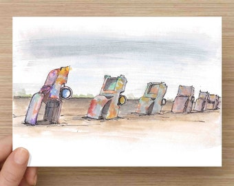 Watercolor Painting of Cadillac Ranch near Amarillo Texas - Classic Car, Art, Ink Drawing, Sketch, Watercolor, Art, Pen and Ink, 5x7, 8x10