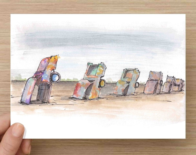 Featured listing image: Watercolor Painting of Cadillac Ranch near Amarillo Texas - Classic Car, Art, Ink Drawing, Sketch, Watercolor, Art, Pen and Ink, 5x7, 8x10