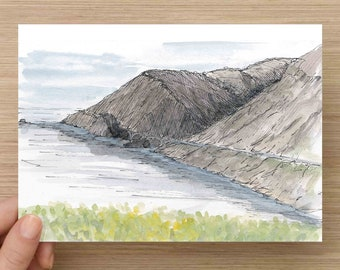 Ink and Watercolor Drawing of Mountains, Cliff and Roadway along Big Sur Coastline - California, Flowers, Painting, Sketch, Art, 5x7, 8x10