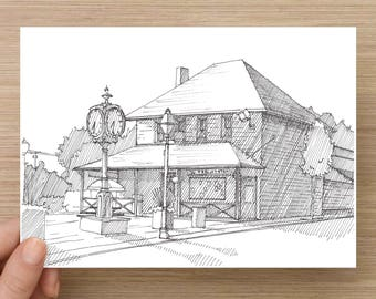 Drawing of Trolley Stop Deli  - Hatfield, PA, Ink Drawing, Sketch, 5x7 Print, Art, Drawing, Illustration, Architecture, Pen and Ink