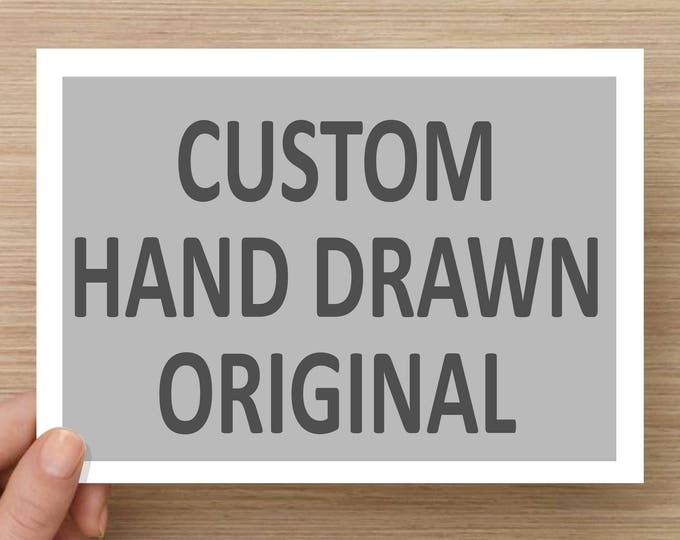 Featured listing image: Custom Drawing Drawn from a Photograph - Pen and Ink, Commission, 5x7, 8x10, 11x14, Any Size, Request, Personalized