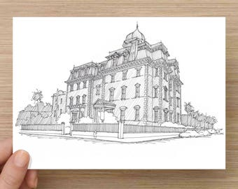 Ink Drawing of the Wentworth Mansion in Charleston, South Carolina - Art, Architecture, Sketch, Pen and Ink, Victorian, History, 5x7, 8x10