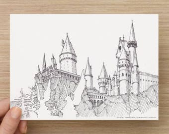 Ink Sketch of Hogwarts Castle at Wizarding World of Harry Potter at Universal Studios Hollywood - Drawing, Art, Pen and Ink, 5x7, 8x10