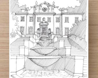 Ink Drawing of the Historic Swan House in Atlanta, Georgia - Sketch, Art, Pen and Ink, Architecture, Mansion, Fountain, 5x7, 8x10, Print