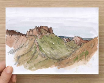Casa Grande Butte in Big Bend National Park - Butte, Desert, Mountains, Texas, Ink Drawing, Sketch, Watercolor, Art, Pen and Ink, 5x7, 8x10