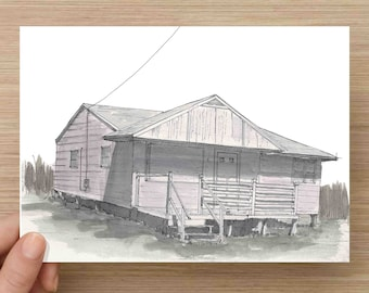 Ink and Watercolor Painting of Abandoned House in Sea Isle City, New Jersey - Architecture, Bungalow, Beach, Art, Pen and Ink, 5x7, 8x10