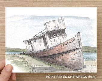 Wooden Boats - Ink and Watercolor Drawings, Art Prints, Point Reyes Shipwreck, Sailboat, Deadrise, Chesapeake Bay, Lifeguard, Catamaran