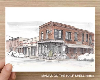 Baltimore, Maryland Canton Neighborhood - Ink and Watercolor, Art Prints, Drawing, Mamas On The Half Shell, Patterson Park, Natty Boh Tower