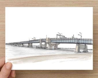 Ink and Watercolor Painting of Townsend Inlet Bridge in Sea Isle City - Civil Engineering, Beach, Ocean, Drawing, Art