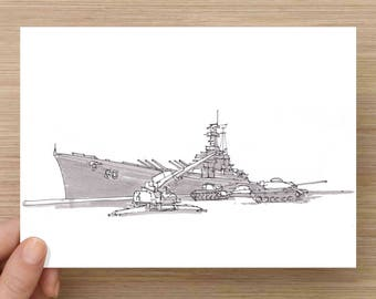 Ink Drawing of the WWII Battleship USS Alabama - Drawing, Art, Navy, Military, Ship, Mobile, Tanks, Artillery, Pen and Ink, 5x7, 8x10, Print