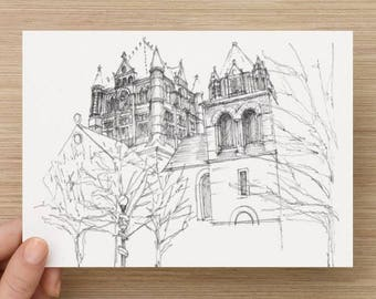 Ink sketch of Trinity Church in Boston, Massachusetts - Drawing, Art, Architecture, Pen and Ink, 5x7, 8x10, Print