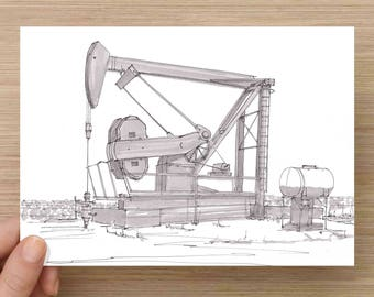 Oil Well Pump Jack near Sweetwater, Texas - West Texas, Machine, Rig, Ink Drawing, Sketch, Black and White, Art, Pen and Ink, 5x7, 8x10