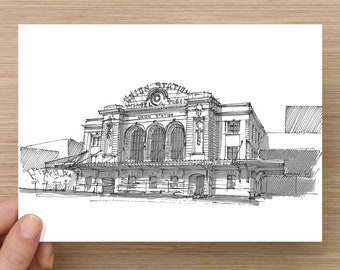 Pen and Ink Drawing of Denver Union Station - Train, Colorado, Architecture, Beaux Arts, Ink Wash, Sketch, Art, 5x7, 8x10