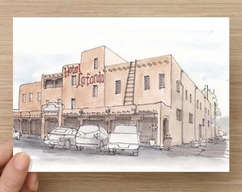 Ink and Watercolor Drawing of Hotel La Fonda in Historic Taos, New Mexico - Architecture, Adobe, Painting, Sketch, Art, 5x7, 8x10