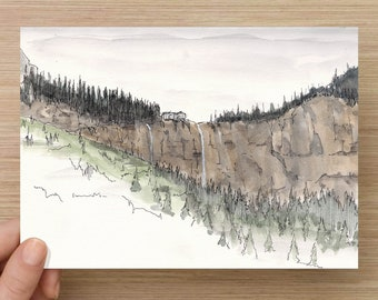 Ink and Watercolor Drawing of Waterfall near Telluride, Colorado - Mountains, Hydroelectric, Sketchbook, Painting, Sketch, Art, 5x7, 8x10