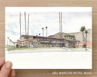 PALM SPRINGS, California - Ink and Watercolor, Art Prints, Drawing, Architecture, Mid-Century Modern, Design, Hotel Del Marcos, Art Museum