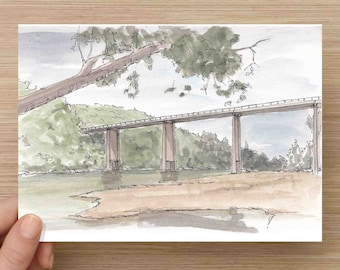 Ink and Watercolor Drawing of bridge and Buffalo National River at Dillards Ferry - Sketch, Watercolor, Art, Pen and Ink, 5x7, 8x10