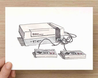 Ink and Watercolor Drawing of Old School Nintendo System - Video Games, NES, Gaming, Classic, Painting, Sketch, Art, Pen and Ink, 5x7, 8x10