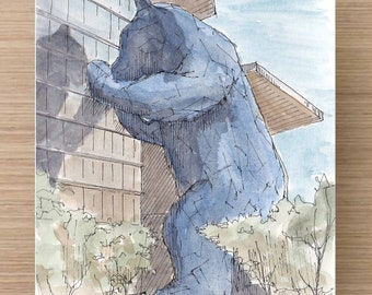 DENVER, COLORADO - Ink and Watercolor, Art Prints, Drawing, Painting, Blue Bear, Union Station, Red Rocks, Voorhies Memorial, State Capitol