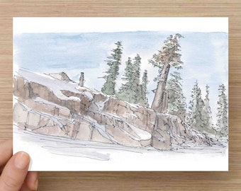 Watercolor Painting of Rocky Ledge at Squaw Valley - Lake Tahoe, California, Ink Drawing, Sketch, Watercolor, Art, Pen and Ink, 5x7, 8x10