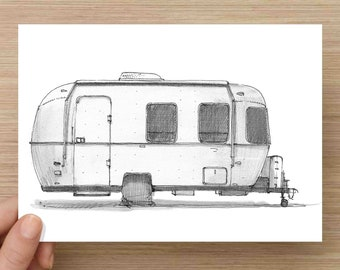 Pen and Ink Drawing of Airstream Trailer - Camper, Classic Design, RV, Art, Ink Drawing, Sketch, Watercolor, Art, Pen and Ink, 5x7, 8x10