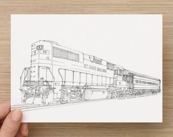 Ink Sketch of Mt. Hood Railroad in Mount Hood, Oregon - Drawing, Art, Train, Locomotive, Engine, Pen and Ink, 5x7, 8x10, Print