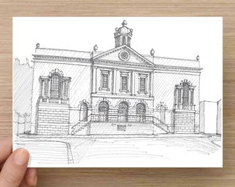 Ink Drawing of the Old Exchange Building in Charleston, South Carolina - Drawing, Art, Architecture, Sketch, Pen and Ink, 5x7, 8x10, Print
