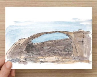 Ink and Watercolor Drawing of Landscape Arch in Arches National Park - Rock Formation, Natural, Utah, Painting, Sketch, Art, 5x7, 8x10