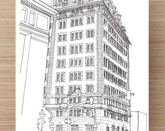 Drawing of Belvedere Hotel- Baltimore, Ink Drawing, Sketch, 5x7 Print, Art, Drawing, Illustration, Architecture, Hotel, Beaux Arts, Classic