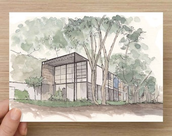 Ink and Watercolor Drawing of the classic Eames House - Modern Architecture, Mid-Century, Sketch, Art, Pen and Ink, 5x7, 8x10