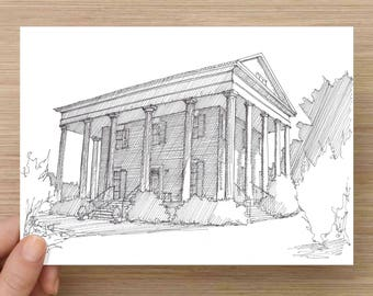 Ink Drawing of the Historic Barrington Hall Plantation in Roswell, Georgia - Sketch, Art, Pen and Ink, Architecture, 5x7, 8x10, Print