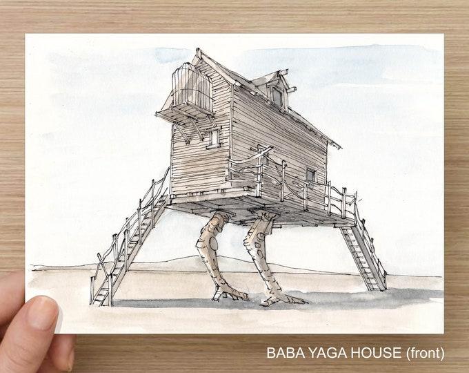 Featured listing image: BLACK ROCK City, Nevada 2018 - Ink / Watercolor, Art Print, Drawing, Baba Yaga, Stacked Cars, Rainbow Bridge, Mechanical Horse, iRobot