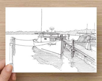 Ink Drawing of vintage wooden boat on Chesapeake Bay - Deadrise, Driftwood, Annapolis, Sketch, 5x7 Print, Art, Illustration, Pen and Ink