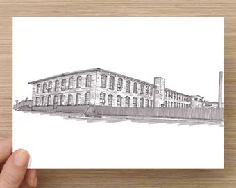 Cotton Mill in McKinney, Texas - Abandoned, Factory, Architecture, Ink Drawing, Sketch, Black and White, Art, Pen and Ink, 5x7, 8x10