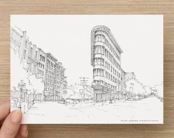 Ink Sketch of Hotel Europe in Vancouver, British Columbia - Drawing, Art, Architecture, Building, Flatiron, Pen and Ink, 5x7, 8x10, Print