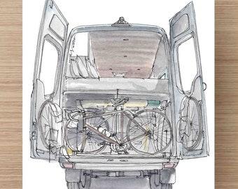 Ink and Watercolor Painting Back of Converted Sprinter Van - Vanlife, Camper Van, RV, Mercedes, Gear Garage, Adventure Gear, Drawing, Art