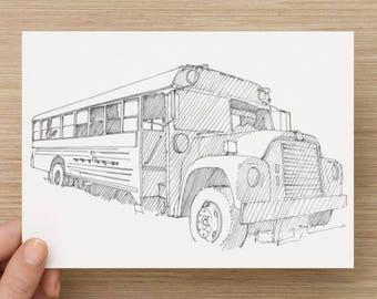 Ink sketch of a broken down bus - Drawing, Art, Pen and Ink, Shadows, School Bus, Rig, 5x7, 8x10, Print