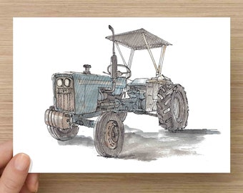 Pen and Ink and Watercolor Painting of Old Ford Tractor - Farm Equipment, Vintage, Antique, Blue, Rusty, Drawing, Art