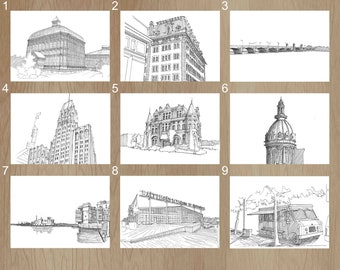 BALTIMORE, MARYLAND, Downtown Architecture - Pen and Ink Drawings, Art Prints, Rawlings Conservatory, Belvedere, Hanover Street, Ten Light