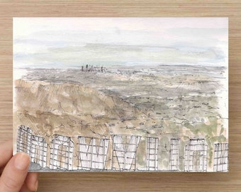Ink and Watercolor Drawing of Los Angeles and Back of the Hollywood Sign - California, LA, Hike, Landmark, Painting, Sketch, Art, 5x7, 8x10