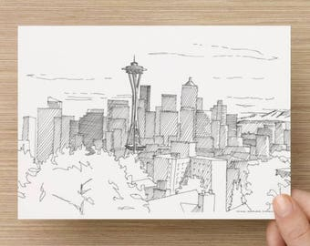 Ink Sketch of Seattle Skyline from Kerry Park - Washington, Architecture, Space Needle, Buildings, Pen and Ink, Art, Drawing, 5x7, 8x10
