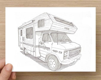 Pen and Ink Drawing of Classic Corsair Camper RV - Winnebego, Vanlife, Retro, Ink Drawing, Sketch, Watercolor, Art, Pen and Ink, 5x7, 8x10
