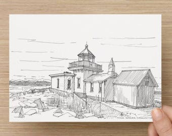 Ink Sketch of West Point Lighthouse in Seattle, Washington - Drawing, Art, Architecture, Water, Beach, Pen and Ink, 5x7, 8x10, Print